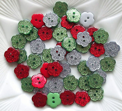 10 X Glitter Buttons/ Flower Shape /Christmas Plastic15mm - Red Green Or Silver  • 1.65£