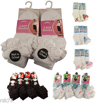 Pack Of 3 Girls Lace Socks,Chic Frilly Bow White Black Cotton Ankle School Socks • 3.95£