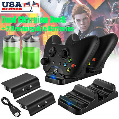 $11.99 • Buy XBOX ONE Dual Charging Dock Station Controller Charger + 2 Rechargeable Battery