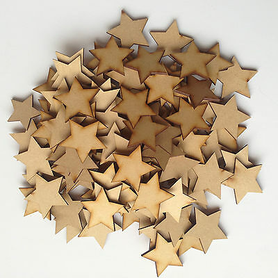 30x Wooden Star Shapes Laser Cut MDF Blank Embellishments Art Craft 40mm X 40mm  • 3.29£