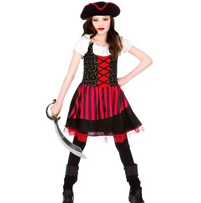 £11.95 • Buy Child PRETTY PIRATE GIRL Fancy Dress Costume Girls Outfit Book Week Age 3-13 Kid