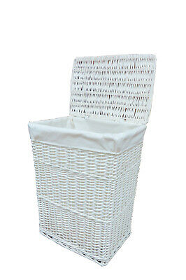 Laundry Basket Bin White Medium Wicker Basket With White Liner Insert Handles • 17.99£