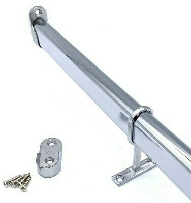 WARDROBE RAIL OVAL CHROME HANGING RAILS 300mm To 2400mm END SUPPORTS SCREWS • 13.99£