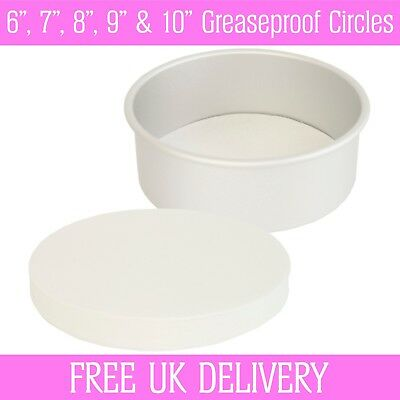 Greaseproof Circles - 6 , 7 , 8 , 9  & 10  Inch - Round Baking Paper Tin Liners • 2.45£