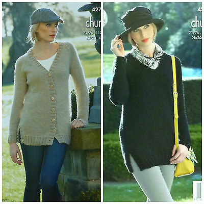 KNITTING PATTERN Ladies V-Neck Long Jacket & Jumper Chunky King Cole 4275 • 3.95£