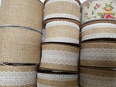 Hessian Burlap Jute Ribbon With Lace Plain Wired Or Vintage Rose • 3.15£