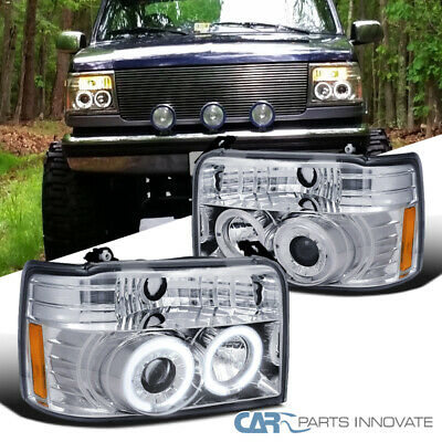 AU220.96 • Buy For Ford 92-96 F150 F250 F350 Bronco LED Halo Clear Projector Headlights  Lamps