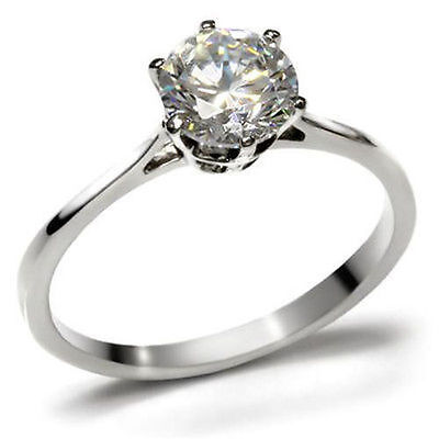 $9.34 • Buy 7mm CZ Ring Round AAA 1.28 CTW Solitaire 316 Stainless Steel Engagement Sz 10