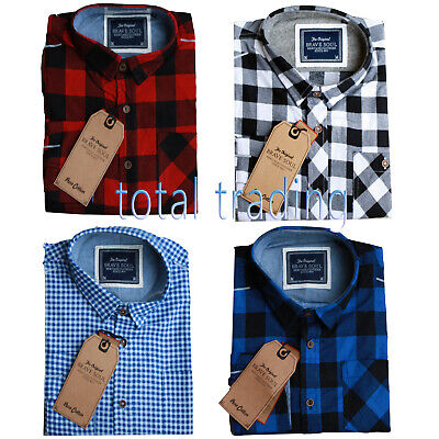 Mens Shirts Check Work Flannel Brushed Cotton Lumberjack Long Sleeve Casual • 9.99£