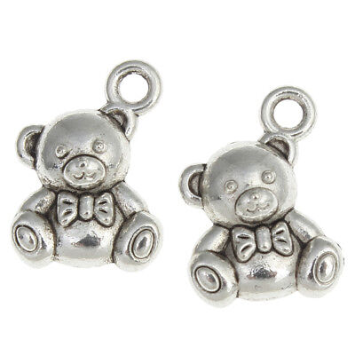 £2.95 • Buy 10 Teddy Bear Toy Baby Child Antique Silver Charms Pendants 13mm X 15mm (829)