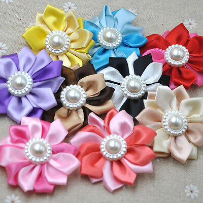 10 Pcs Satin Ribbon Flower Multilayers Flower For Hair Accessories A281 • 3.19£