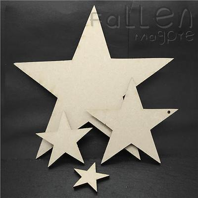 Wooden Star Shapes Embellishments Craft MDF Wood Hole Tags Blanks  • 1.30£