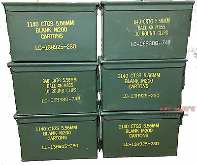 $99.50 • Buy 6 PACK .50 CALIBER 5.56mm AMMO CAN M2A1 50CAL METAL AMMO CAN BOX VGC