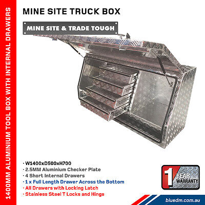 AU1250 • Buy Aluminium Full Door 4 Drawer 1400MM Toolbox Truck / Ute Trade **FREE DELIVERY**