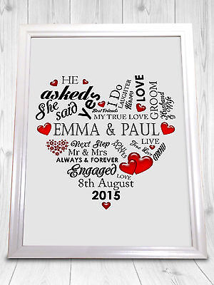 Personalised Engagement Present Gift Getting Married A4 Print Wedding Love Heart • 5.99£