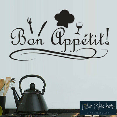 Wall Stickers Bon Appetit Food Kitchen Quote Art Decals Vinyl Decor Room Home • 4.99£