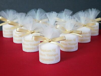 Personalised Christening Baptism Votive Candle Favours With Photo Set 15 • 15£