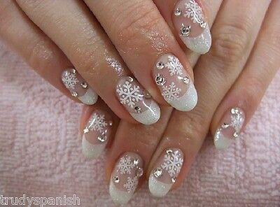 £2.25 • Buy Christmas Matte White Snowflakes Nail Art Stickers Decals Transfers (55)
