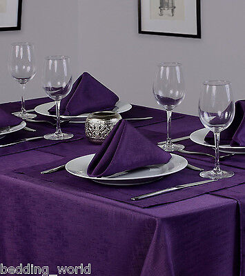Linen Look Purple Table Cloths Plum Aubergine Birthday Party Christmas Occasions • 5.99£