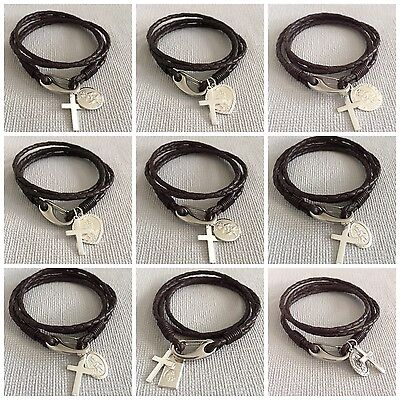 SILVER CROSS & CHOICE Of 925 ST CHRISTOPHER Leather Bracelet - FREE ENGRAVING  • 49.49£