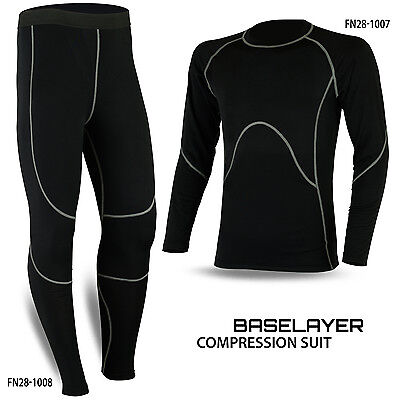 Mens Compression Thermal Base Layer Tights Shirt Under Suit Pant Black • 18.48£