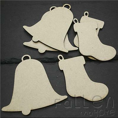 Wooden Christmas Bell Stocking Shapes Decorations Wood MDF Craft Tags Blanks  • 2.10£