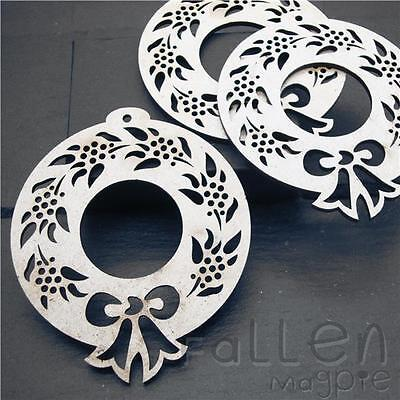 £4.90 • Buy Wooden Christmas Wreath Shapes Embellishments Craft Wood MDF Tags Blanks