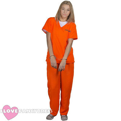 Womens Prisoner Costume Orange Top Trousers Convict Halloween Fancy Dress 8/20 • 10.99£