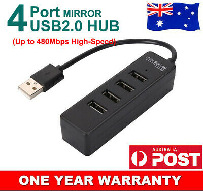 AU8.99 • Buy 4Port High Speed USB HUB Slim Compact Multi Expansion Smart Splitter White Black