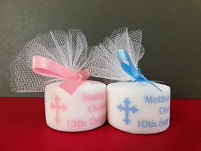 Personalised Christening Baptism Tealight Candle Favours Pink Or Blue Set Of 10 • 8£