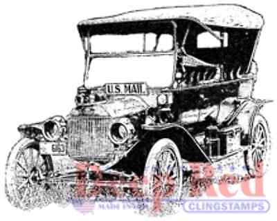 $7.49 • Buy Deep Red Cling Rubber Stamp Rubber Stamp Old Vintage Mail Truck