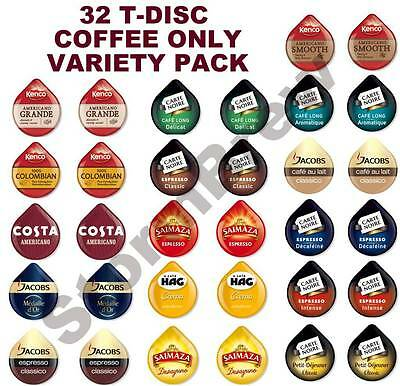 32 Tassimo T Discs Coffee Only Variety Taster, Starter Pack. Pods Capsules • 12.49£