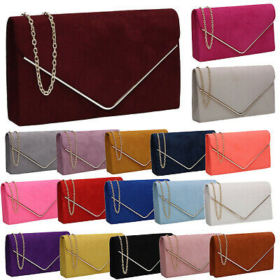 £9.99 • Buy Womens Oscar Faux Suede Ladies Clutch Bag Envelope Wedding Prom Party Evening