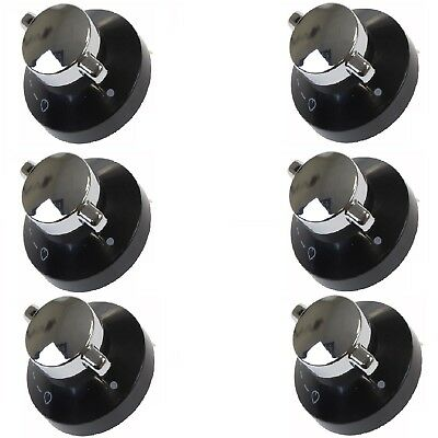 6 X Oven Gas Control Knobs Hob Cooker Switch Chrome Black Silver For New World • 24.69£