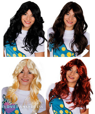 70's Flick Wig Ladies Disco Fancy Dress Black Brown Blonde Red Long Wavy Hair • 4.99£