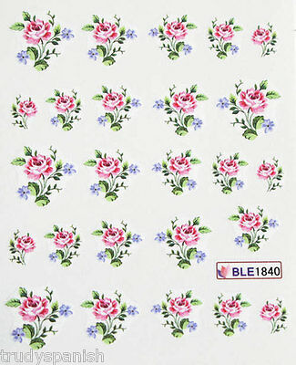 £1.65 • Buy Nail Art Stickers Nail Water Decals Nail Transfers Pink Blue Flowers Roses 1840