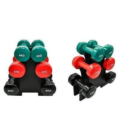AU149.95 • Buy 3 Pairs PVC Dumbbell Set Weight - 4kg + 5kg + 6kg - Total 30kg With 1 Free Rack