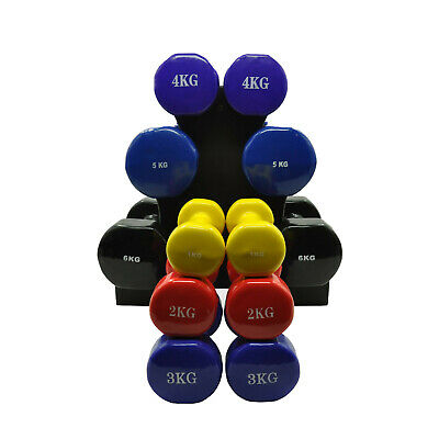AU169.95 • Buy 6 Pairs PVC Dumbbell Set Weight - 1-2-3-4-5-6kg - Total 42kg With 2 Free Racks