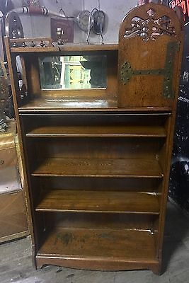 $525 • Buy Rare Old Oak Arts & Crafts Bookcase With Tree Of Life Cut Out Shipping Ok