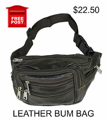 AU22.50 • Buy  Genuine Leather Bum Bag Travel Pouch Mobile Phone Waist Pack Black Brown