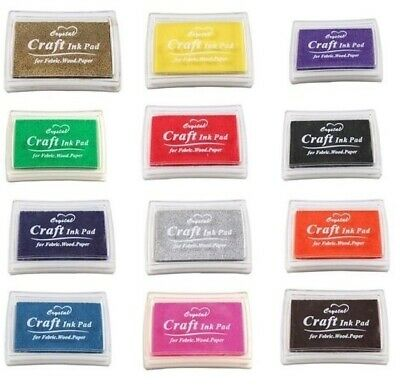Craft Pigment Ink Pad For Paper Wood Fabric Scrapbook 17 Colours Art InkPad • 2.40£