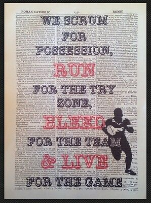 £5 • Buy VINTAGE RUGBY QUOTE PRINT 1933 Dictionary Page Wall Art Picture Sport Player