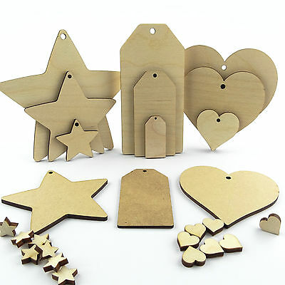 Wooden & Mdf Hearts Stars And Luggage Tags. Craft Shapes Blanks And Cut Outs • 2.38£
