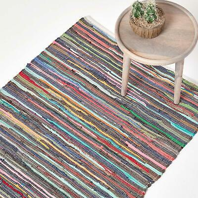 £9.99 • Buy Handmade Indian Chindi Rag Rug 100% Recycled Cotton Large Small Woven Floor Mat