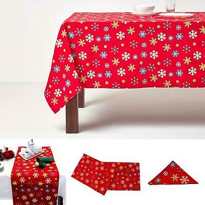 Christmas Cotton Red Snowflake Tablecloth Napkin Placemat Runner Decoration • 19.99£
