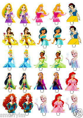 £3.20 • Buy 25 X DISNEY PRINCESS Edible Wafer Peper Cup Cake Stand Up Toppers Image BB