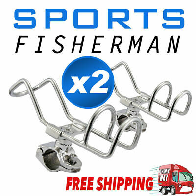 AU36.95 • Buy 2x Quality 316 Stainless Steel Rod Holder RAIL Mount Wire Fishing Boat 360 Degre