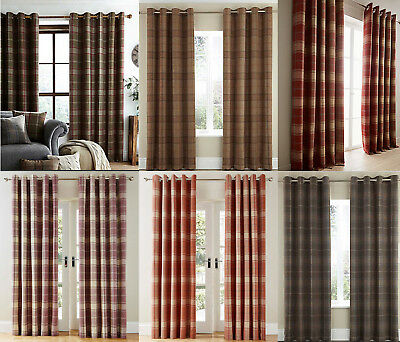 LUXURY CHECK Highland Ring Top Eyelet Lined Curtains Brushed Faux WOOL Effect • 74.99£