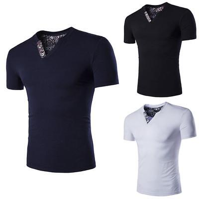 $ CDN12.42 • Buy Stylish Men's Casual Slim Fit V-neck T-shirt Short Sleeve Cotton Muscle Tee Tops