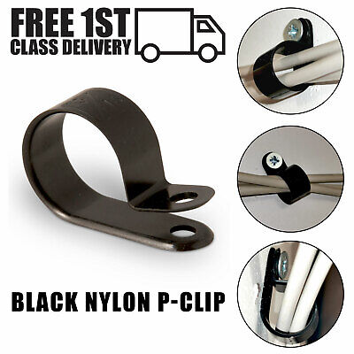 £3.50 • Buy Nylon Plastic P Clips - Black Fasteners For Cable, Conduit, Tubing Sleeving Wire